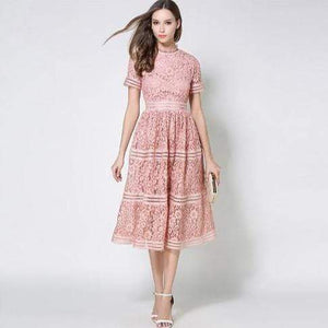 Her Shop Dress Pink / S 2020 Summer Fashion Hollow Out Vintage Dress
