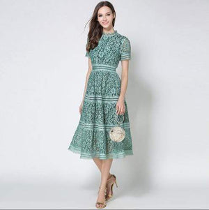 Her Shop Dress 2020 Summer Fashion Hollow Out Vintage Dress