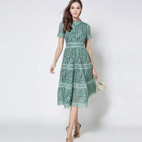 Her Shop Dress Green / S 2020 Summer Fashion Hollow Out Vintage Dress