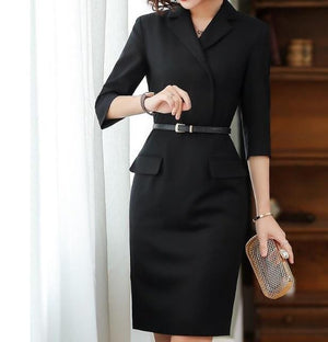 Her Shop Dress Black / M Autumn High Quality Office Dress