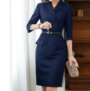 Her Shop Dress Navy Blue / S Autumn/Winter High Quality Office Dress