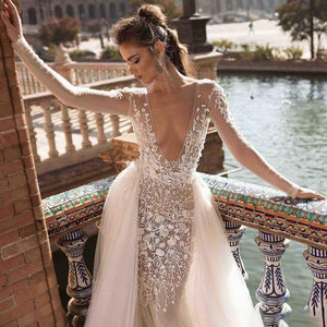 Her Shop Dress Backless Beach Bohemian Mermaid Wedding Dresses