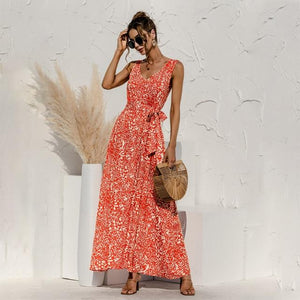 Her Shop Dress Orange / S Backless V-Neck Bandage Boho Beach Dress