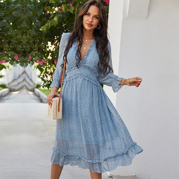 Her Shop Dress Casual Butterfly Sleeve High Waist Chiffon Dress