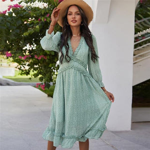 Her Shop Dress Light Green / XL Casual Butterfly Sleeve High Waist Chiffon Dress
