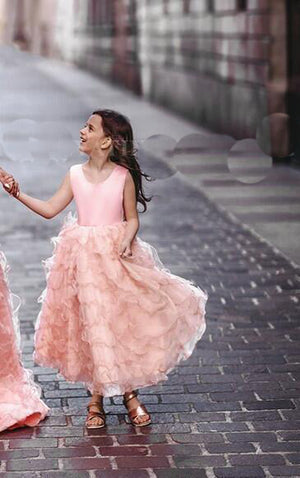 Her Shop Dress Daughter dress / 14 / China Coral Pink Tiered Ruffles Ball Mother Daughter Gown