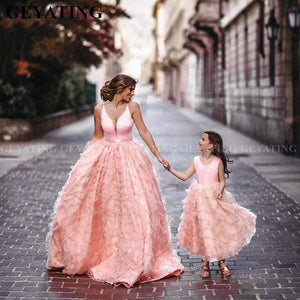 Her Shop Dress Coral Pink Tiered Ruffles Ball Mother Daughter Gown
