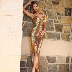 Gold Sequined Spaghetti Straps Deep V-neck Backless Sleeveless Split Dress