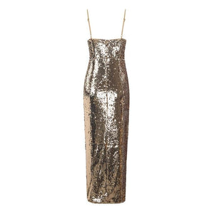 Her Shop Dress Gold Sequined Spaghetti Straps Deep V-neck Backless Sleeveless Split Dress