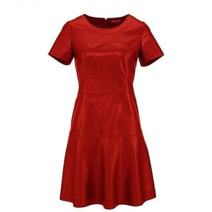 Her Shop Dress Red / S Hot Sale Women Fashion Leather  A-Line O-Neck Dress