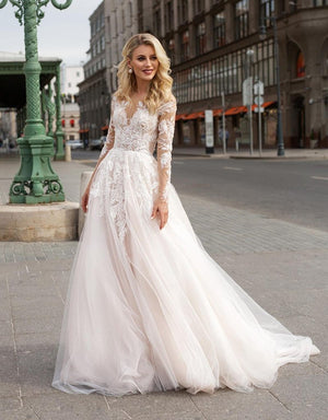 Her Shop Dress Long Sleeve Boho V neck Ivory Lace Appliques Beach Wedding Dresse