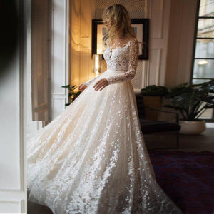 Her Shop Dress Long Sleeves Open Back Champagne Wedding Dress