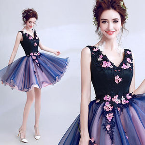 Her Shop Dress picture color / 18W Luxury Elegant Famous Appliques Flowers  Evening Party Dress (Short)
