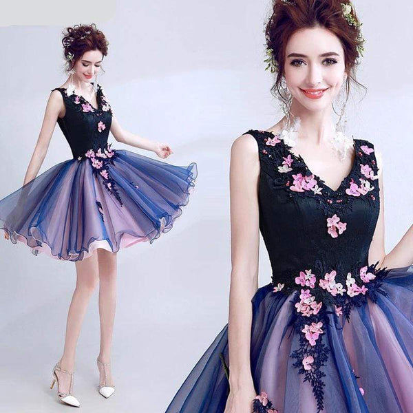 Her Shop Dress Luxury Elegant Famous Appliques Flowers  Evening Party Dress (Short)