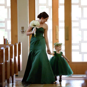 Her Shop Dress green / 12M Mother Mom and Daughter Dresse'ses Wedding Maxi Long Dress Mom Daughter Matching Tutu Skirts Family  Bridesmaid Dresses Set