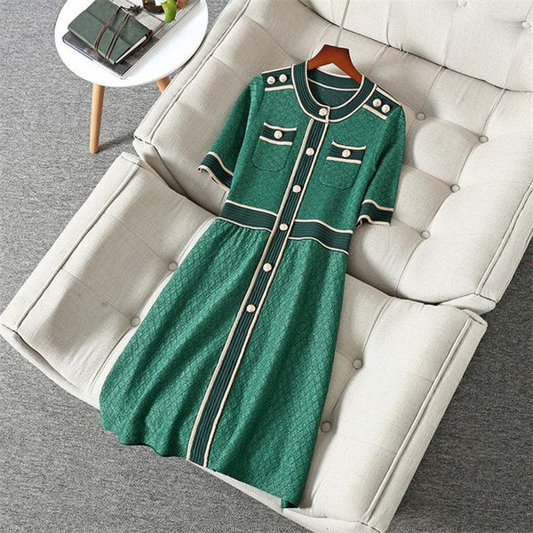 Her Shop Dress Green / XL New Fashion Spring Summer Runway  Designers Dress