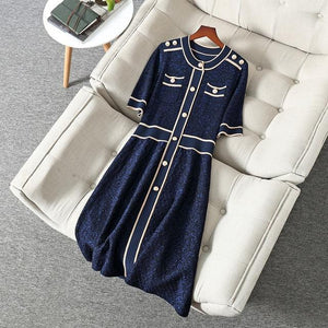 Her Shop Dress Blue / XL New Fashion Spring Summer Runway  Designers Dress