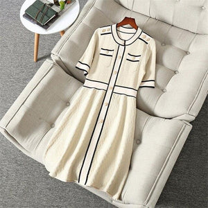 Her Shop Dress Beige / XL New Fashion Spring Summer Runway  Designers Dress