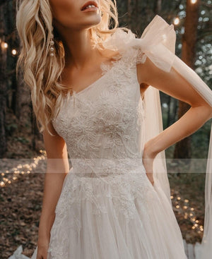 Her Shop Dress One Shoulder Pleated Beading Applique Lace Wedding Dress