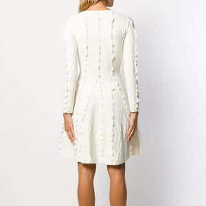 Her Shop Dress Top Quality White Jacquard Party Dress