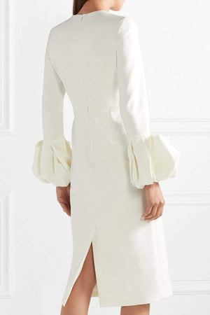 Her Shop Dress White Bubble Cuff Chiffon Dress for Women