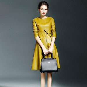 Her Shop Dress yellow / S Women High Quality Faux Leather Office Lady A-line Dresses