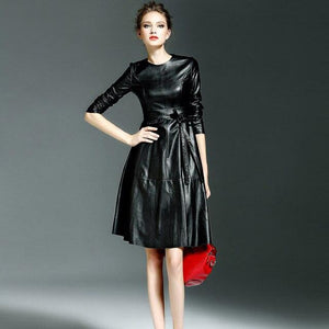 Her Shop Dress black / S Women High Quality Faux Leather Office Lady A-line Dresses
