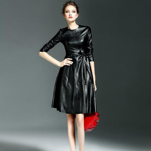Her Shop Dress Women High Quality Faux Leather Office Lady A-line Dresses