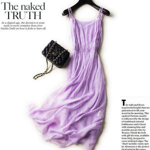 Her Shop Dresses Lavender / S 100% Silk Spaghetti-Strap Beach Dress