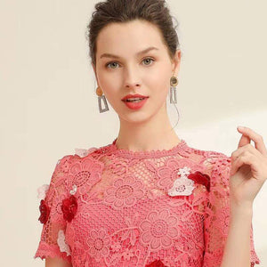 Her Shop Dresses 2020 Summer Spring New Fashion Embroidery  Pink Dress