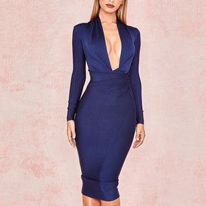 Her Shop Dresses deep blue / L Deep V Neck Women Sexy Bandage Dress