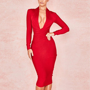 Her Shop Dresses red / L Deep V Neck Women Sexy Bandage Dress