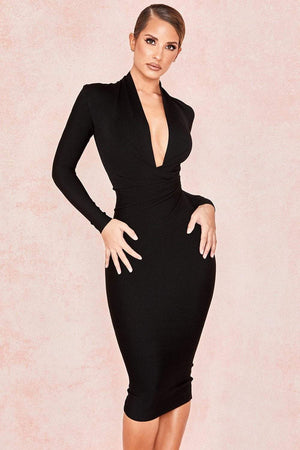 Her Shop Dresses Black / L Deep V Neck Women Sexy Bandage Dress