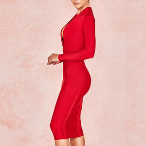 Her Shop Dresses Deep V Neck Women Sexy Bandage Dress