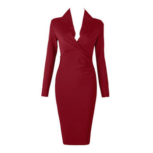 Her Shop Dresses Wine red / L Deep V Neck Women Sexy Bandage Dress
