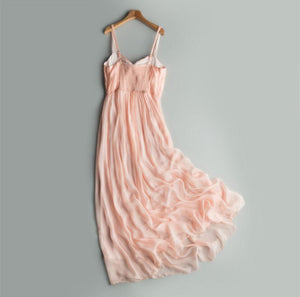 Her Shop Dresses S Elegant Pink Beach Dress 100% Silk