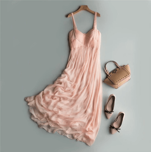 Her Shop Dresses Elegant Pink Beach Dress 100% Silk