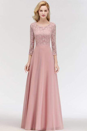 Her Shop Dresses Pink / 2 Lace Chiffon Long Evening Gown