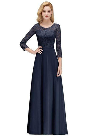Her Shop Dresses Navy Blue / 2 Lace Chiffon Long Evening Gown