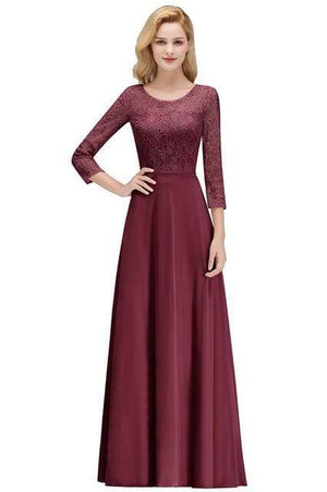 Her Shop Dresses burgundy / 2 Lace Chiffon Long Evening Gown