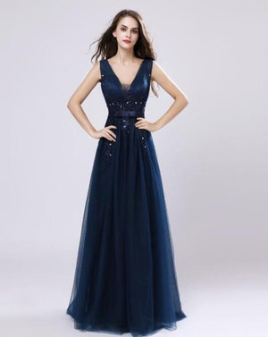 Her Shop Dresses navy blue / 2 Long Evening Dresses / Prom Party Gowns