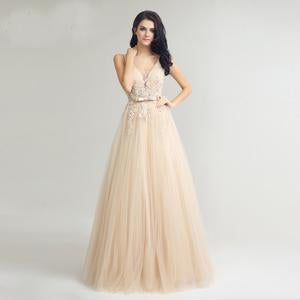 Her Shop Dresses Champagne / 4 Long Evening Dresses / Prom Party Gowns