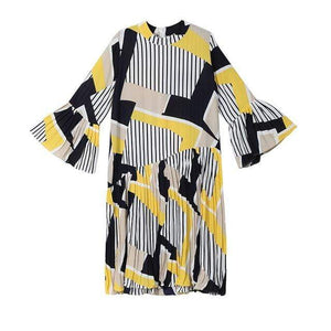 Her Shop Dresses yellow / One Size New  Fashion Pleated Loose Dress