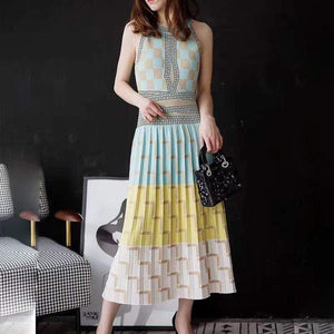 Her Shop Dresses New High Quality Summer Geometry Knitted Dress