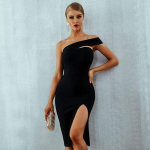Her Shop Dresses Black / L One Shoulder Bandage Dress
