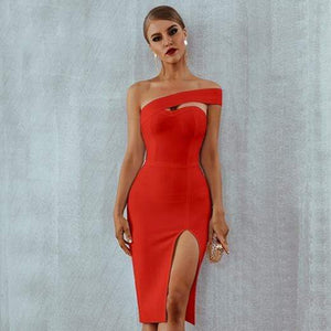 Her Shop Dresses Red / L One Shoulder Bandage Dress