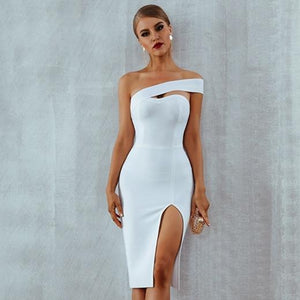 Her Shop Dresses White / L One Shoulder Bandage Dress
