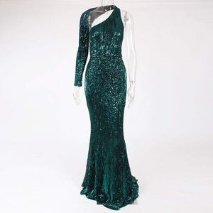 Her Shop Dresses One Shoulder Green Sequined Evening Party Dress
