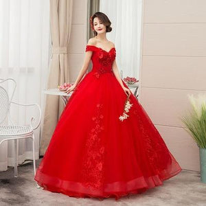 Her Shop Dresses Red / 2 Pink Appliques Sweetheart Prom Dresses