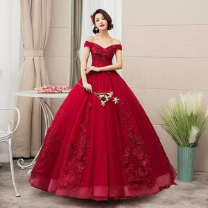 Her Shop Dresses burgundy / 10 Pink Appliques Sweetheart Prom Dresses